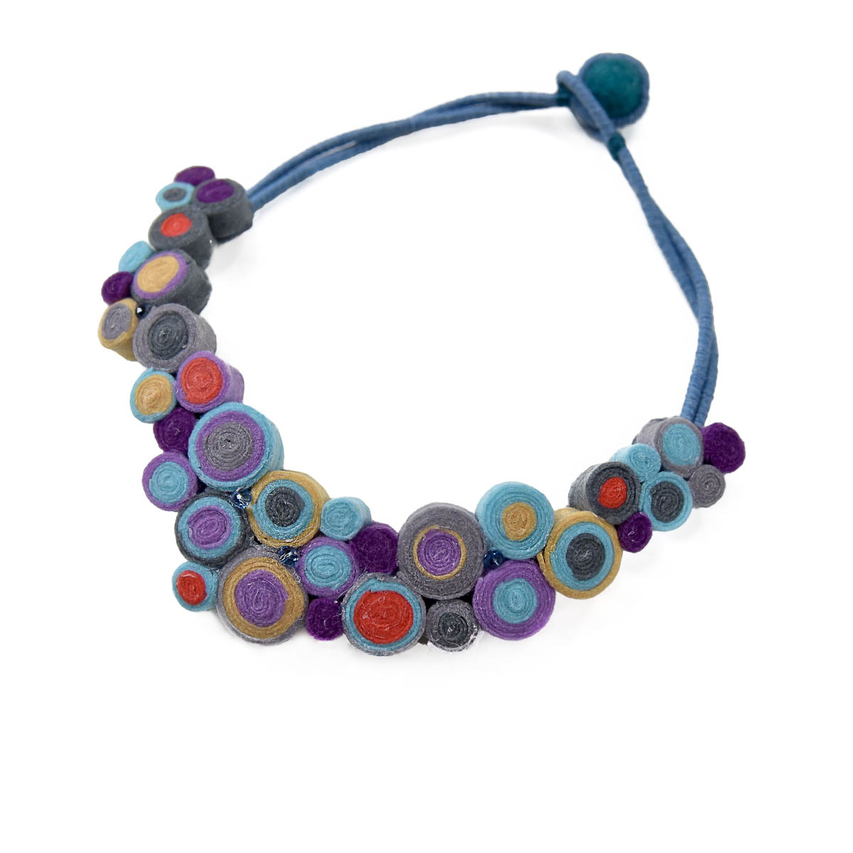 Blooming jewelry includes statement collar necklaces inspired by colorful flower gardens. The jewelry is made with felt beads and looks like a blooming garden. Designed and made by Katerina Glinou.