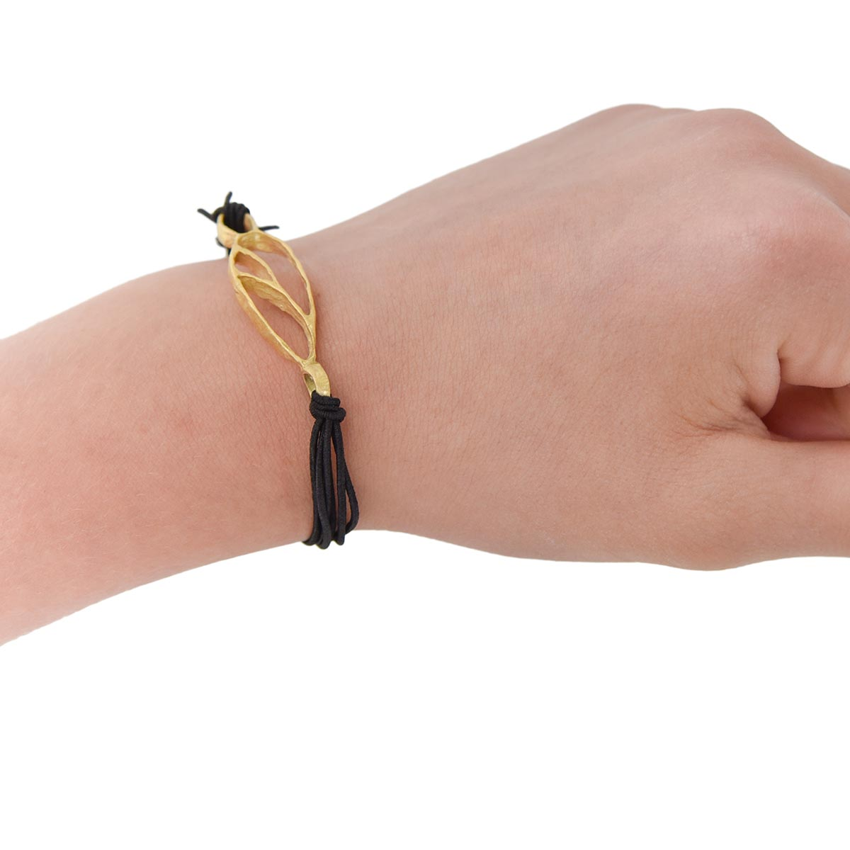 Bracelet with bronze handmade charm and elastic cord. Made for Bead A Boo Jewelry by Katerina Glinou.