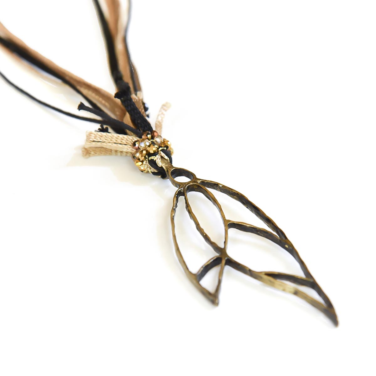 Neckklace with bronze handmade charm and silk ribbons. Designed and made for Bead A Boo jewelry by Katerina Glinou.