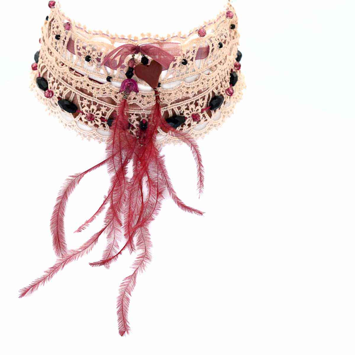 Lace & Velvet chocker is inspired by French cabaret jewelry and clothes. Designed and made for Bead a Boo by Katerina Glinou.