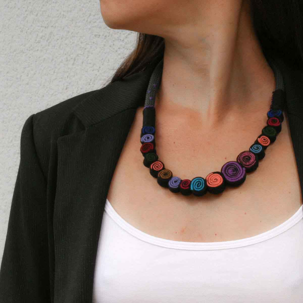 Statement felt necklace designed and made for Bead A Boo by katerina Glinou.