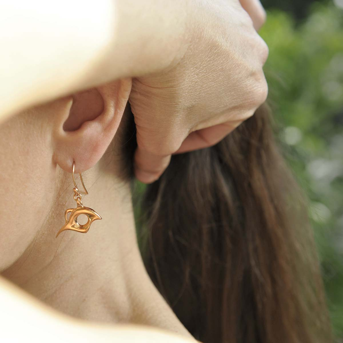 """Bird of Paradise"" gold plated silver earrings. Design and handmade for Bead A Boo jewelry by Katerina Glinou."