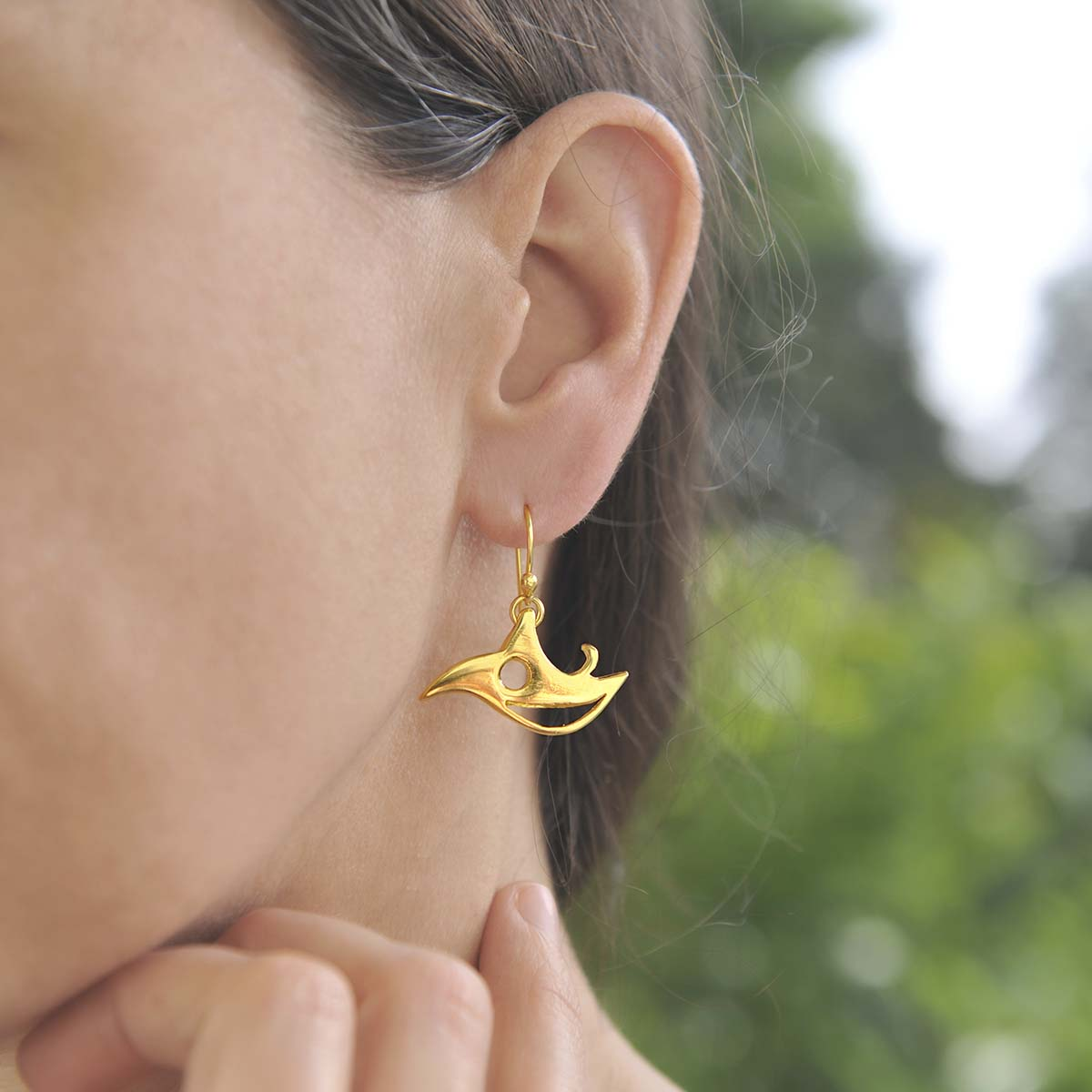 """""""Parrot"""" gold plated silver earrings. Design and handmade for Bead A Boo jewelry by Katerina Glinou."""