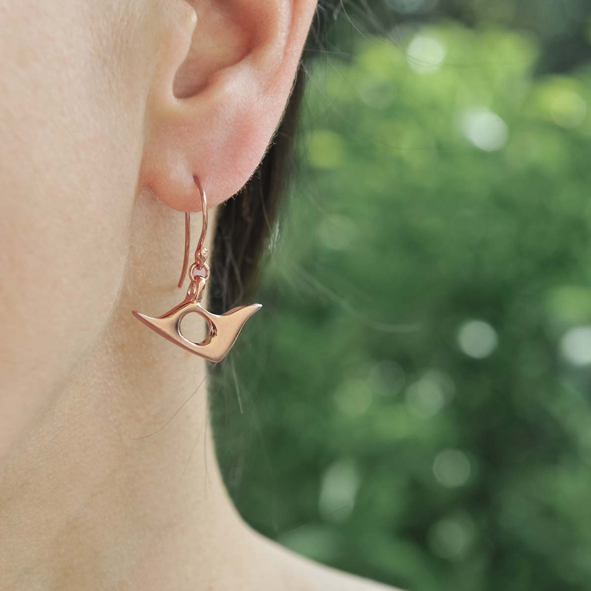 """""""Pigeon"""" gold plated silver earrings. Design and handmade for Bead A Boo jewelry by Katerina Glinou."""
