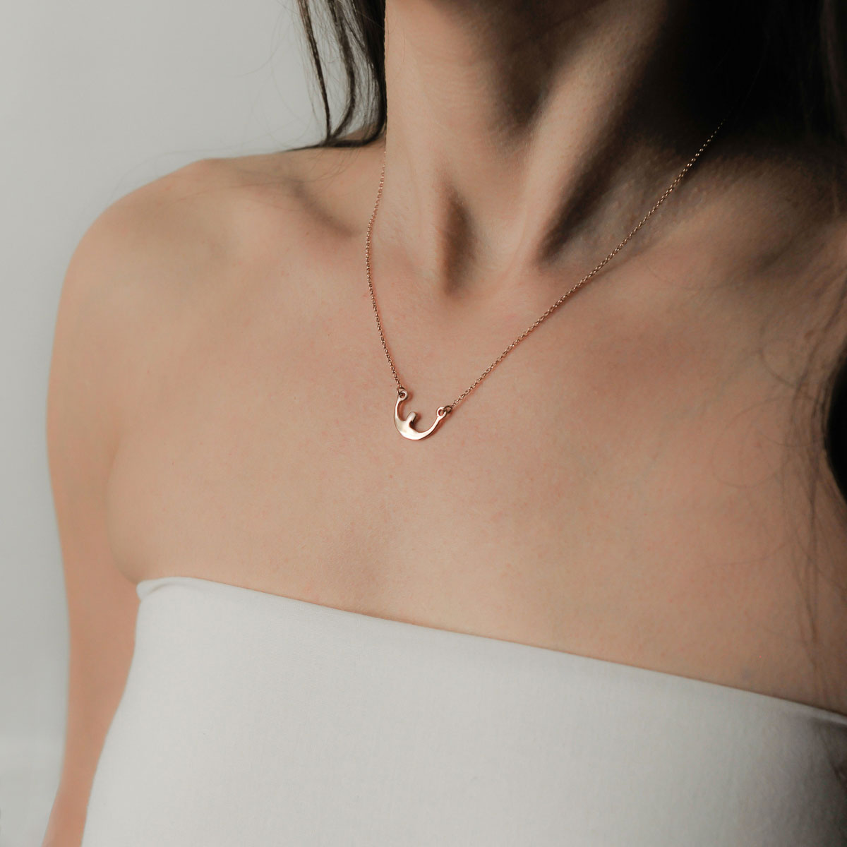 """Boat"" gold plated silver necklace. Design and handmade for Bead A Boo jewelry by Katerina Glinou."