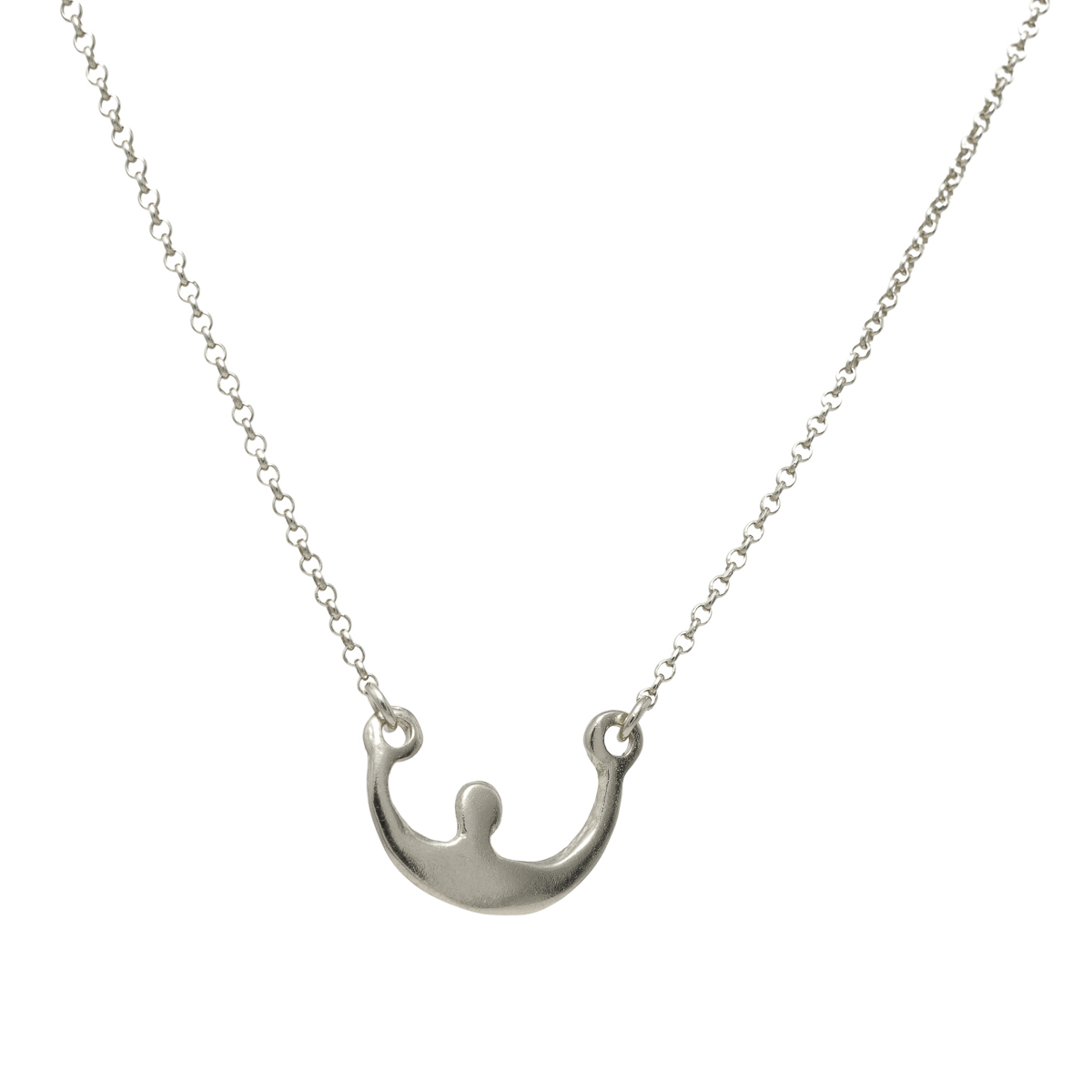 """Boat"" sterling silver necklace. Design and handmade for Bead A Boo jewelry by Katerina Glinou."