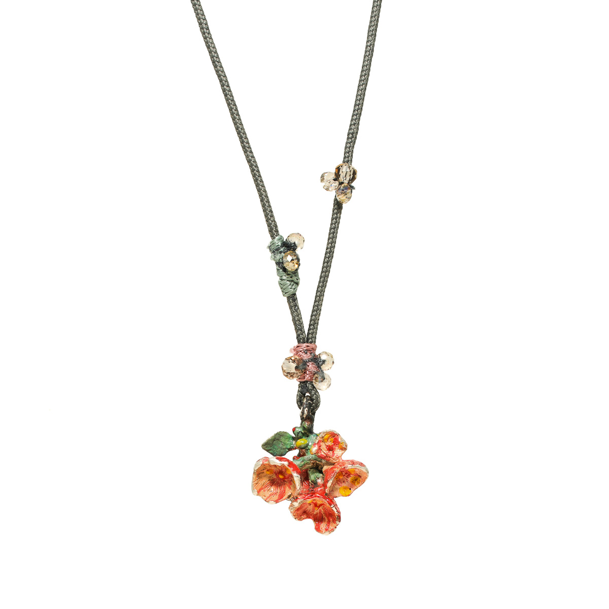 Flower bouquet necklace in sterling silver, colored with enamel paint. Design Katerina Glinou, Bead A Boo jewelry
