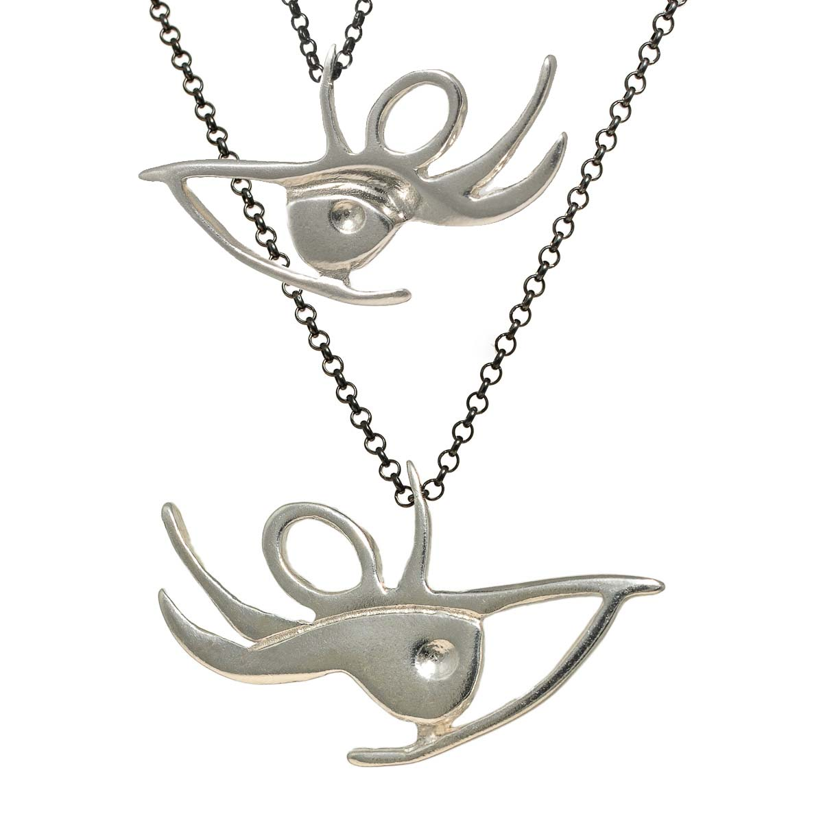 Eye necklace in sterling silver. Design and handmade for Bead A Boo jewelry by Katerina Glinou.