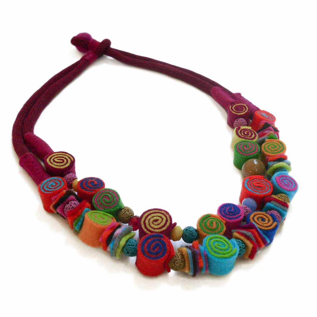 """Felt casual"" project is part of the Mixed Media jewelry collecion. The felt jewelry is made with rolled beads in a great variety of colors and styles."