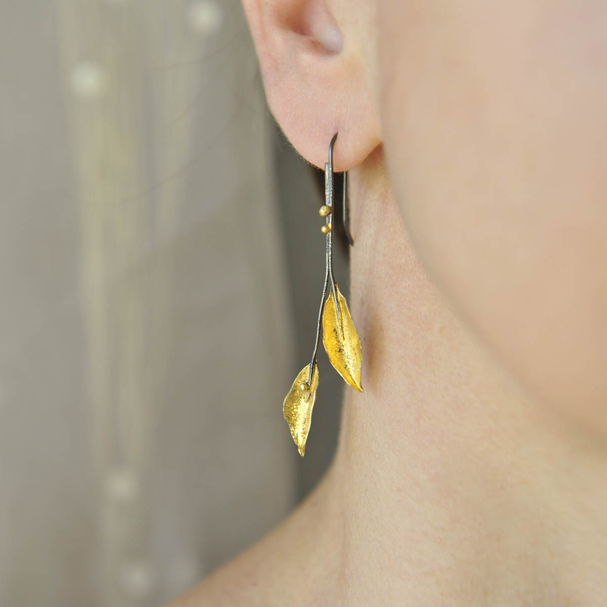 """""""Leaves"""" long earrings. Sterling silver gold plated. Design and handmade for Bead A Boo jewelry by Katerina Glinou."""