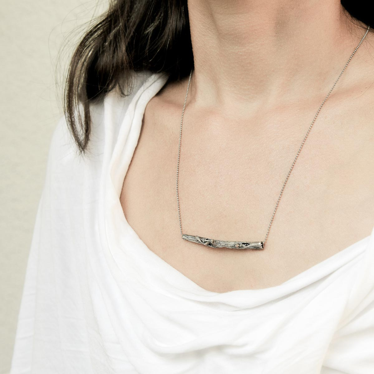 Branch silver necklace. Design and handmade for Bead A Boo jewelry by Katerina Glinou.