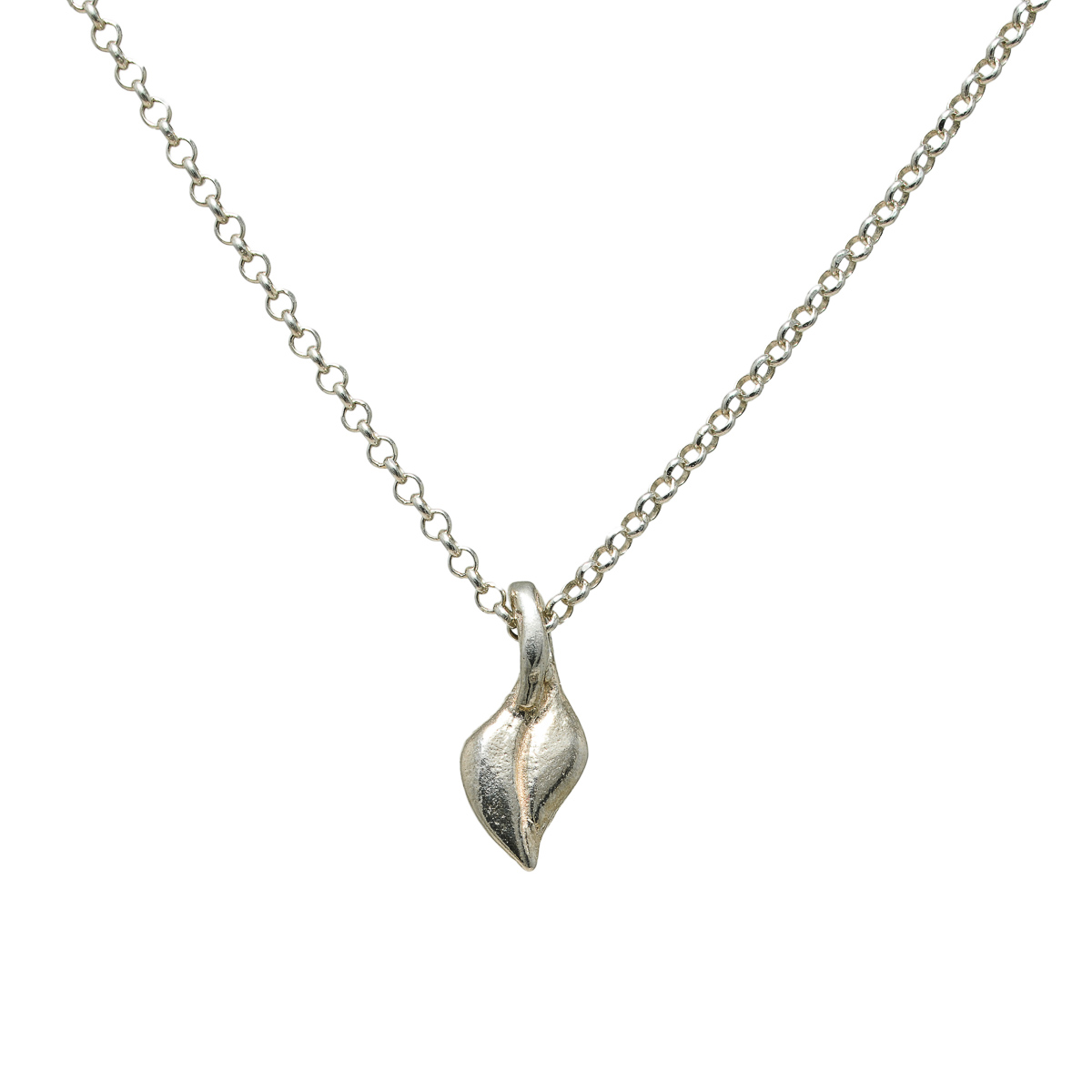 Tiny leaf necklace, sterling silver. Design and handmade for Bead A Boo jewelry by Katerina Glinou.