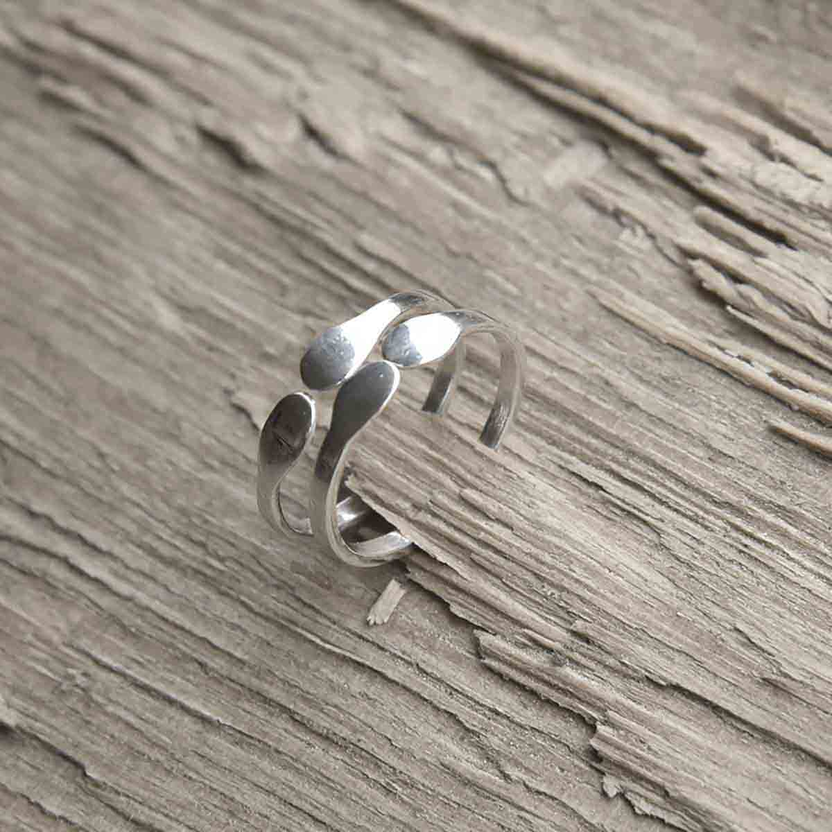 """Circle"" sterling silver adjustable open ring that fits many finger sizes. Design and handmade for Bead A Boo jewelry by Katerina Glinou."
