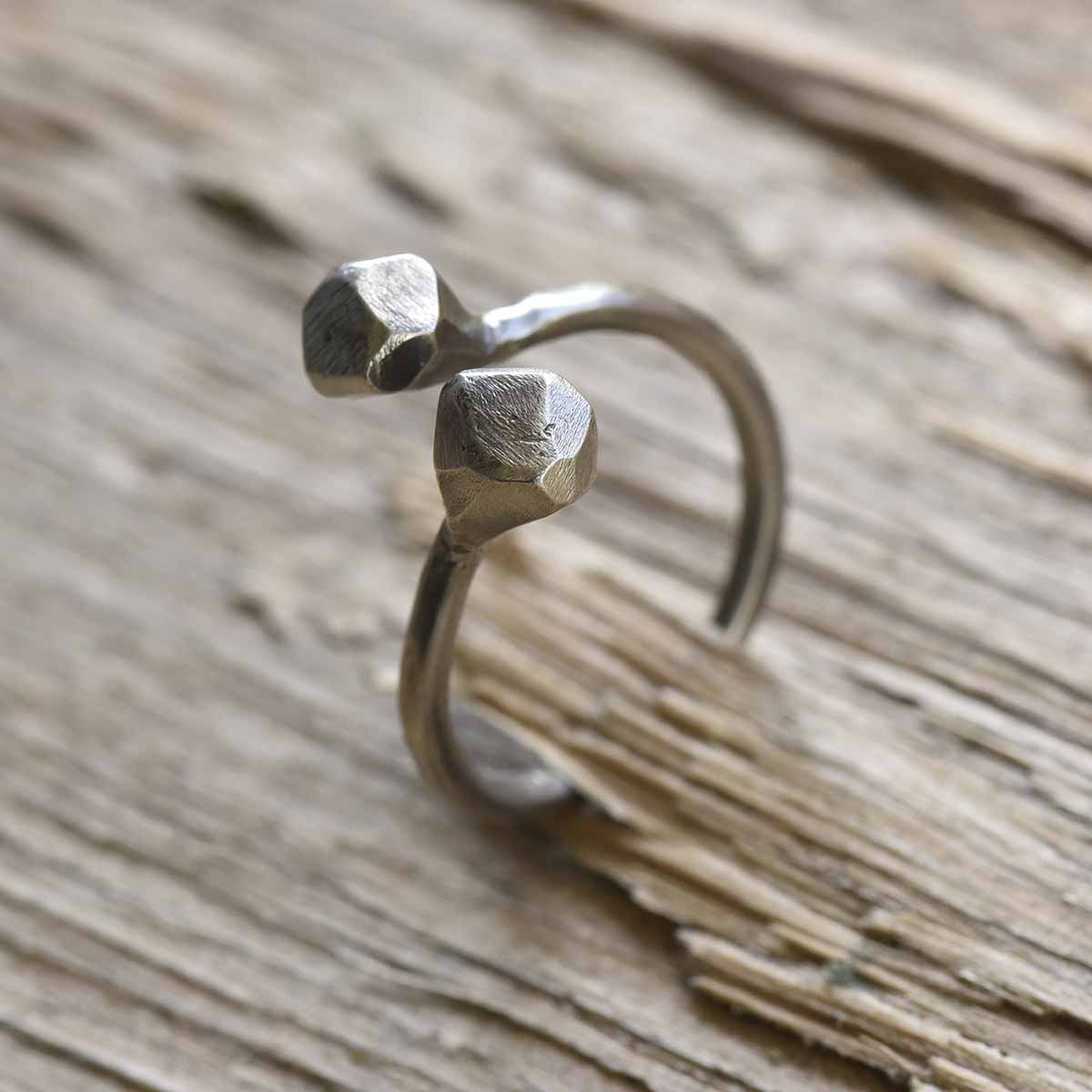 Sterling silver open ring with diamond shaped edges. Design and handmade for Bead A Boo jewelry by Katerina Glinou.