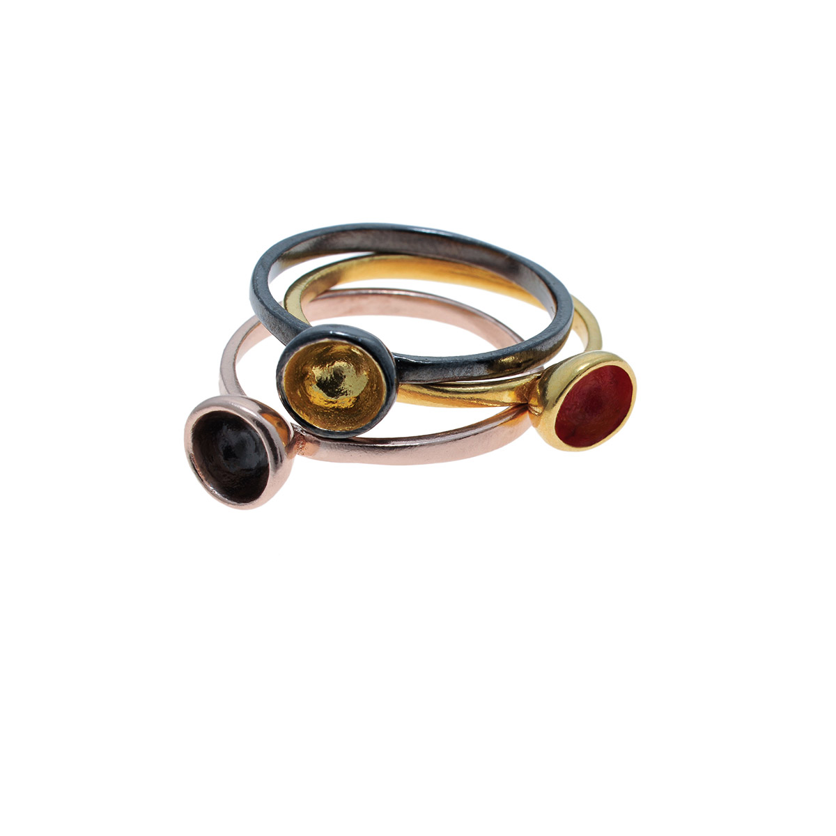"""The """"Dots"""" design is part of the """"Symbols"""" jewelry collection. The Dots jewelry is available in silver, gold, rhodium and colored with enamel paint.Design and handmade for Bead A Boo jewelry by Katerina Glinou."""