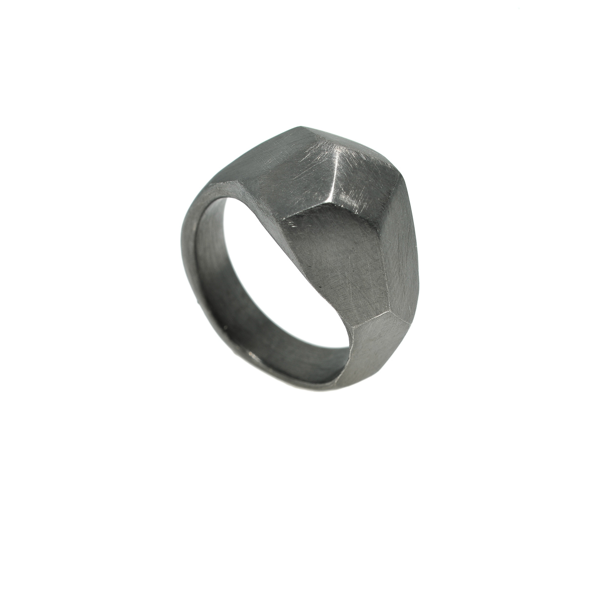 Large polygonal ring is part of the experimental collection. The polygonal ring was designed and made by Katerina Glinou. Material is silver rhodium plated.