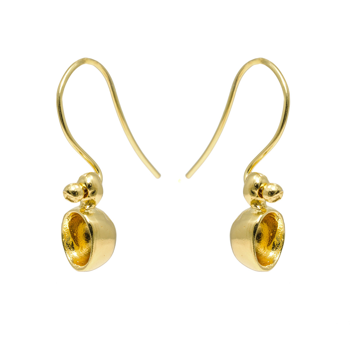 """""""Seeds and Pits"""" earrings in gold plated sterling silver. Design and handmade for Bead A Boo jewelry by Katerina Glinou."""