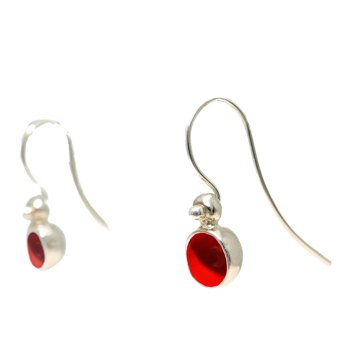 """""""Seeds and Pits"""" earrings in sterling silver, colored with enamel paint. Design and handmade for Bead A Boo jewelry by Katerina Glinou."""