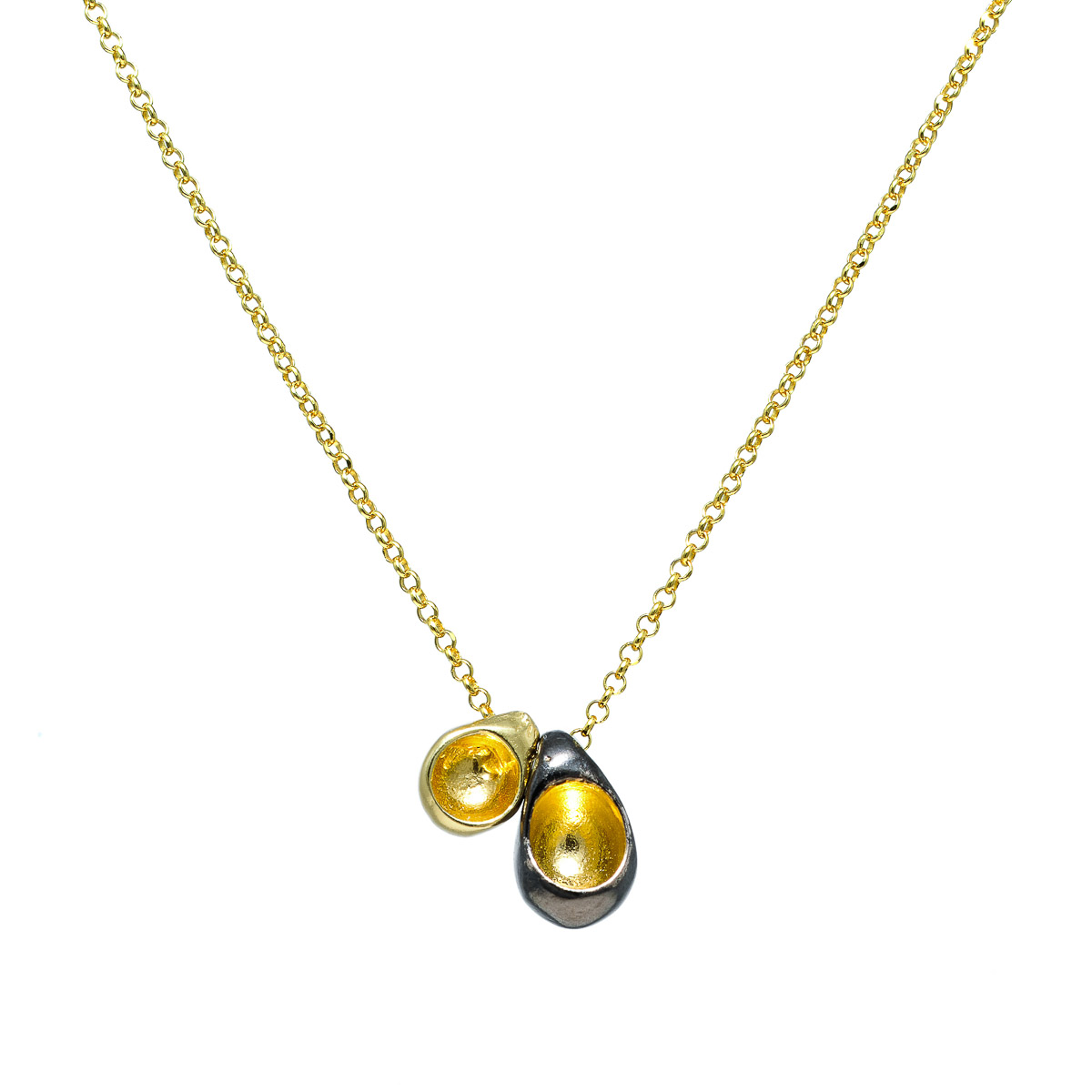"""""""Seeds and Pits"""" necklace in gold plated silver. Design and handmade for Bead A Boo jewelry by Katerina Glinou."""